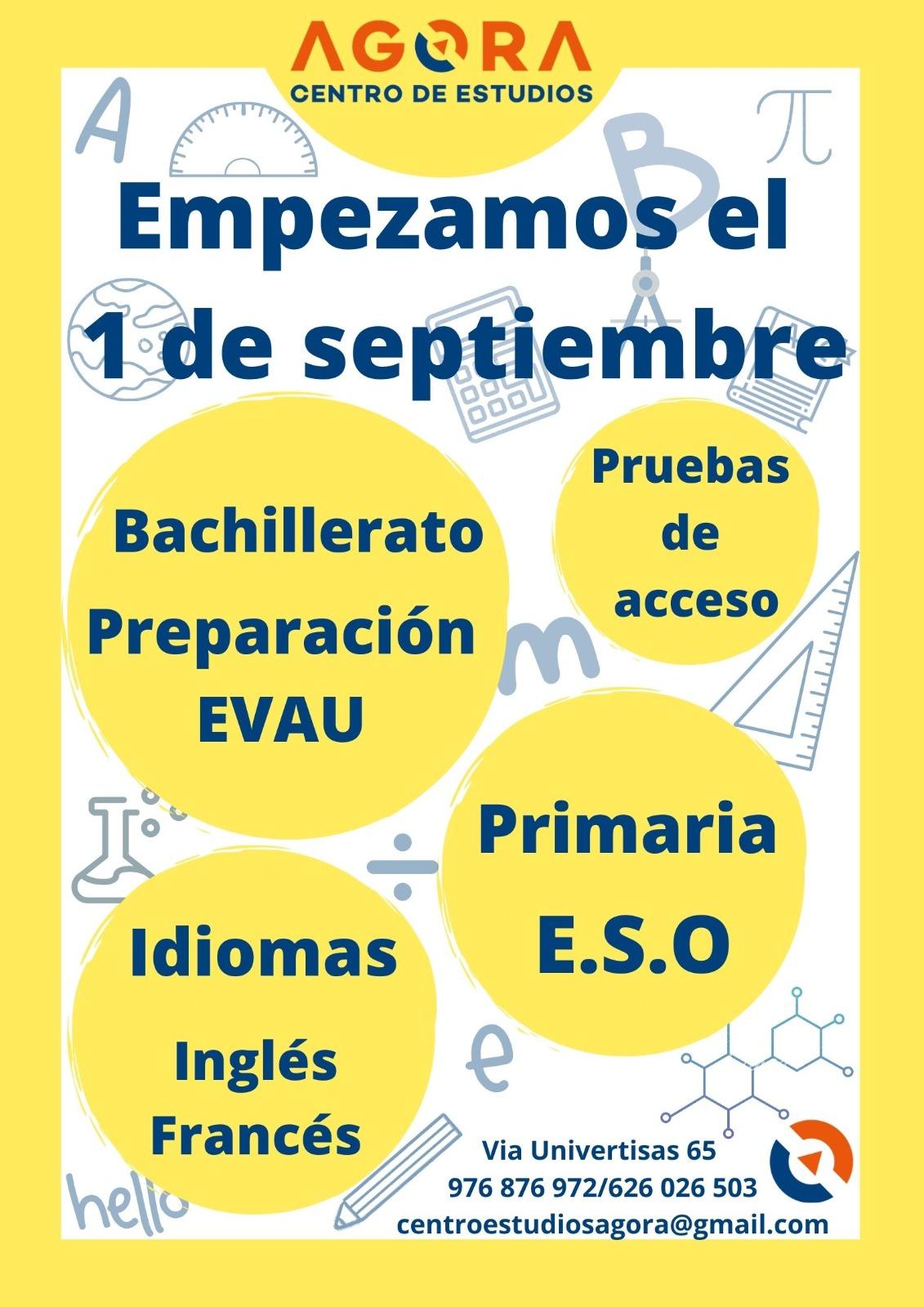 Centro Estudios Ágora. Nuevas clases Septiembre 2020.